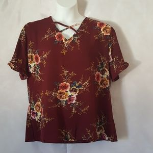 Cranberry Ruffle Sleeve Blouse